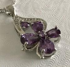 925 sterling silver Amethyst Flower Pendant Necklace [PEN-106] - $13.86