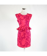 Salmon pink purple scroll CYNTHIA ROWLEY stretch cap sleeve peplum dress S - $34.99