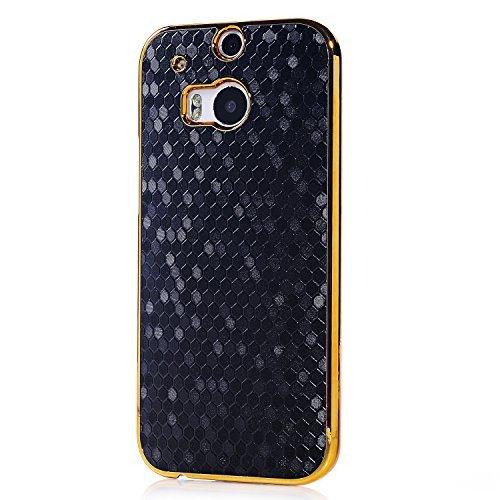 HTC One M8 Case, Vfunn Elegant Golden Plating Hard Back Case Cover for HTC One M