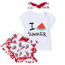 Lovely baby kid girls short sleeve with headband outfit clothes - $14.99