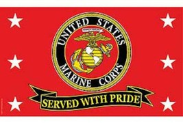 UNITED STATES MARINES SERVED WITH PRIDE 3 X 5 FLAG 3x5 banner FL359 USMC... - $8.98