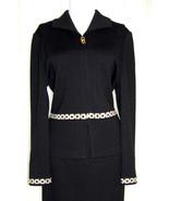 ST JOHN Collection santana knit black skirt suit jacket gold chain detai... - $225.00