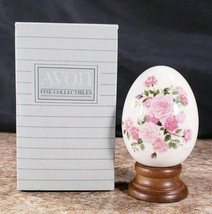 Avon Gifts Of Nature Summers Roses Fine Porcelain Egg Collection 4th In ... - $14.53