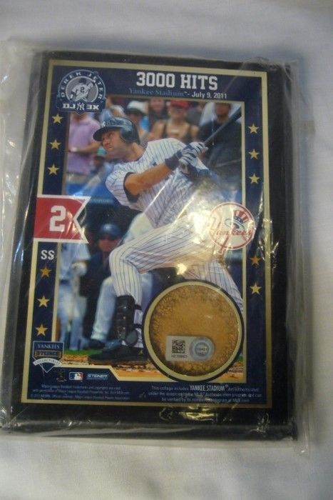 Derek Jeter 3000 Hits Plaque and Stadium Dirt