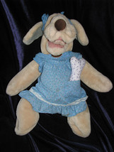 Wrinkles GANZ Puppet Plush Puppy Dog 18 Inch 1981 Girl with Dress Panties Bone - $45.13