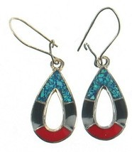 Vintage Sterling Mexico Coral Onyx Turquoise Inlaid Mosaic Pear Drop Ear... - €26,65 EUR
