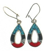 Vintage Sterling Mexico Coral Onyx Turquoise Inlaid Mosaic Pear Drop Ear... - $32.39