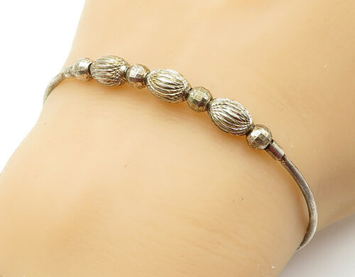 925 Sterling Silver - Vintage Etched Ball Bead Petite Cuff Bracelet - B6137