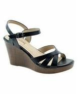 Cherish, Black Three-Strap Collyn Wedge Sandal, Sz 6.5 - $28.71