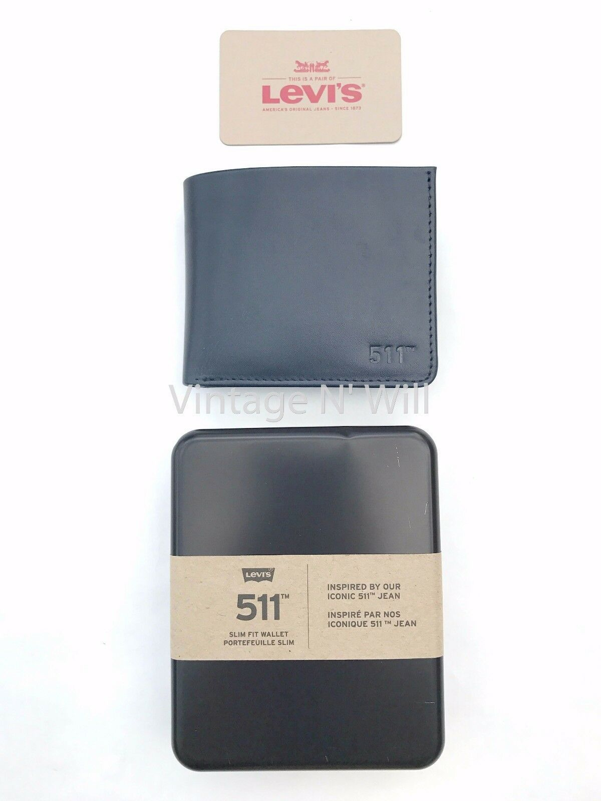 Levis Jeans Mens 511 Slim Navy Blue Genuine Leather Wallet Billfold Bifold Card