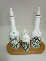 Vtg Oil Vinegar Salt Pepper Ceramic Cruet Set 1972 The Botinic Garden En... - $37.05