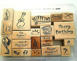 Stampin' Up RETIRED 1999 All That Jazz 20 Piece Music Set Rubber Wood Stamps  - $37.61