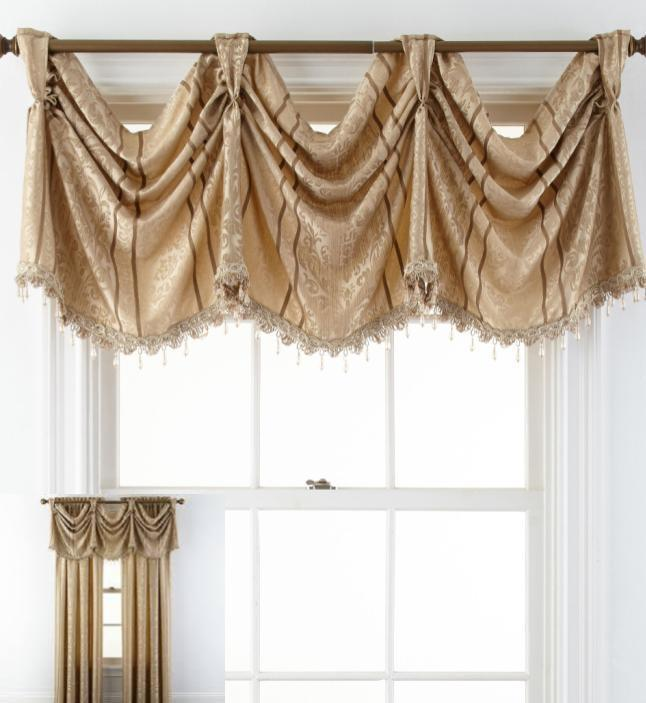 JCP Brittany Valance w/ Beaded Fringe Beige 72x18 Machine Washable