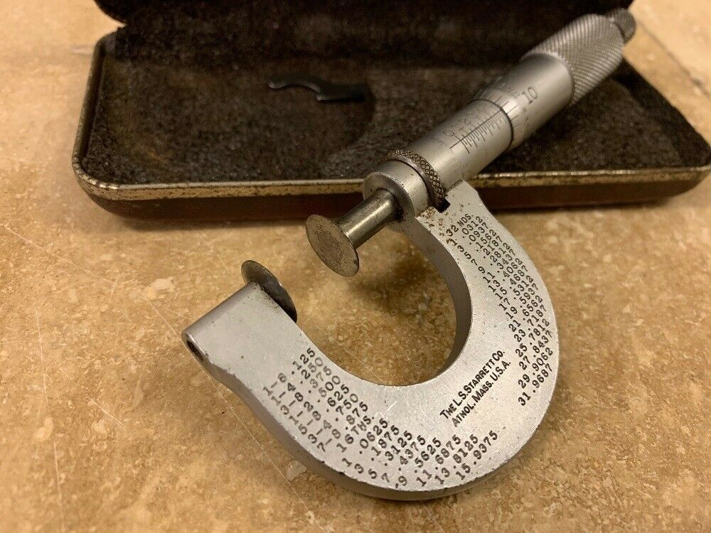 "Starrett No. 256 Flange Disc 1"" Micrometer Caliper with Box and Wrench"