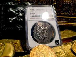 MEXICO 1654 FULL 4 DIGIT DATE 8 REALES NGC 30 MARAVILLAS SHIPWRECK TREAS... - $1,895.00