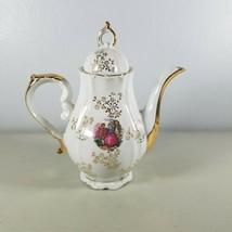 Tea Pot Occupied Japan Gold & White Elegant - $18.80