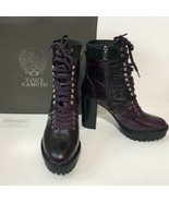 New Vince Camuto Women's Ermania Moon Dark Red/Black Lace-Up Platform Bo... - $123.74
