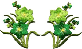 Green lilies pair flowers floral bouquet boho applique iron-on patch new... - $4.71 CAD