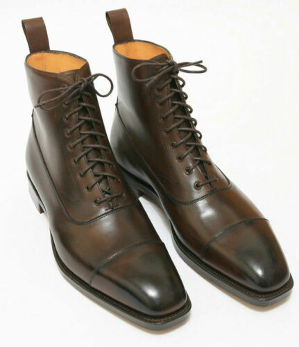 Handmade Men's Brown Leather High Ankle Lace Up Boots