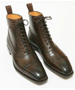 Handmade Men's Brown Leather High Ankle Lace Up Boots - $149.99+