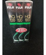 FUJI HQ-120 Blank VHS Tapes Video Cassette Pack of 3 6 Hours New Sealed - $9.70