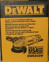 DeWalt DWE402W Paddle Switch Small Angle Grinder with Wheel Corded USA Made image 5
