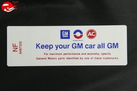 71 Oldsmobile V8-2V Carb keep Your GM Car All GM Air Cleaner Filter Lid Decal - $999.99