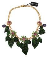 Women's Dolce & Gabbana Floral Crystal Charm Brass Statement Necklace - £607.21 GBP
