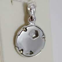 SOLID 18K WHITE GOLD SOCCER BALL PENDANT, SATIN CHARMS, FOOTBALL, MADE IN ITALY image 3