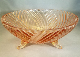 Vintage Anchor Hocking AHC60 Pink Geometric Swirl Large 3-Footed Bowl - $17.50