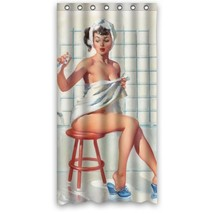 Sexy Bathroom Art Shower Curtain Pretty Girl Bathing - Vintage Retro Pin... - $25.43