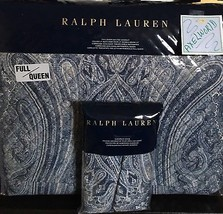 RALPH LAUREN 1pc ALLISTER PAISLEY BLUE/WHITE  QUILTED F/QUEEN QUILT NWT ... - $180.49