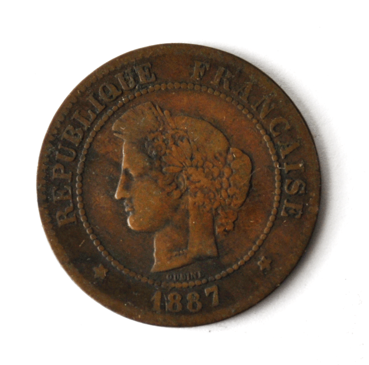 1887 A France 5 Five Centimes KM# 821.1 Bronze Coin