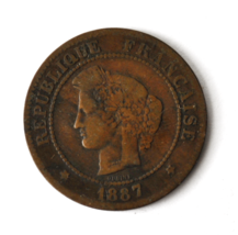 1887 A France 5 Five Centimes KM# 821.1 Bronze Coin  image 1