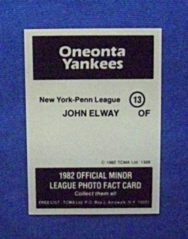 Lot of ( 10 )1982 TCMA Baseball #13 John Elway (Oneonta Yankees) Rookie Repro's