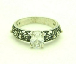 Sterling Silver .925 1.5 Carat Oval CZ Solitaire Ring NV 8 Flower Band Size 8.25 - $29.69