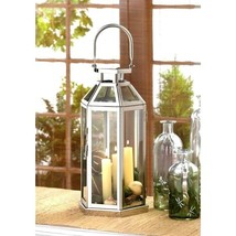 "Silver Geometric 13.4"" Lantern Stainless Steel Candle Holder Centerpiece - $20.74"