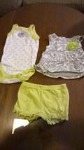 Carters 3 Piece Outfit Set Green Gray Zebra Dress/Top Elephant One Piece Newborn - $8.64