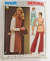 Vogue Paris Givenchy 2848 Dress Tunic Pants Sewing Pattern Size 18 Vinta... - $18.66