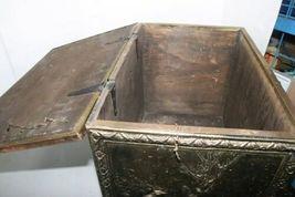 "Vintage Wood Metal Brass Tone Wheel Rolling Storage Chest 18.5""x14""x12.5"" Box image 7"