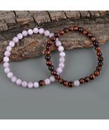 Couple Bracelet, Kunzite & Red Tiger's Eye Gemstone 6 MM Beads Stretch Bracelet. - $24.99 - $28.99