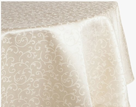 LENOX OPAL INNOCENCE TABLECLOTH COTTON BLEND OBLONG 60 X 120 IVORY FLORA... - $84.65
