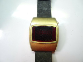 MARCEL VINTAGE 1970'S RED LED WATCH gold color square WATCH TO RESTORE o... - $87.32
