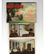 LINEN SOUVENIR FOLDER- GREETINGS FROM MT VERNON, VA 18 COLORTONE PHOTOS ... - $3.92
