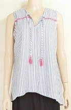 Fresh Produce top M white gray stripe sleeveless pink trim tassel 100% c... - $19.79
