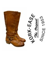 Kork-Ease Tyler Tall Equestrian Wrap Boots Leather Size 9.5 Brown - $110.39