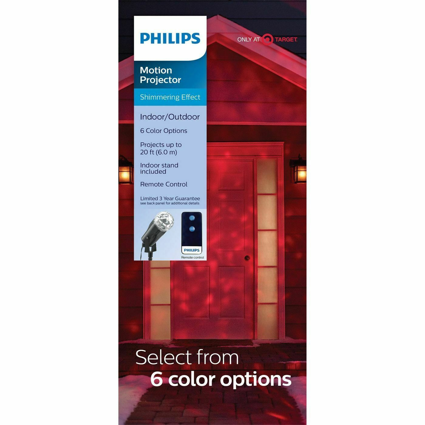 Philips Shimmering Pick-a-Color Remote Christmas LED Motion Projector NEW