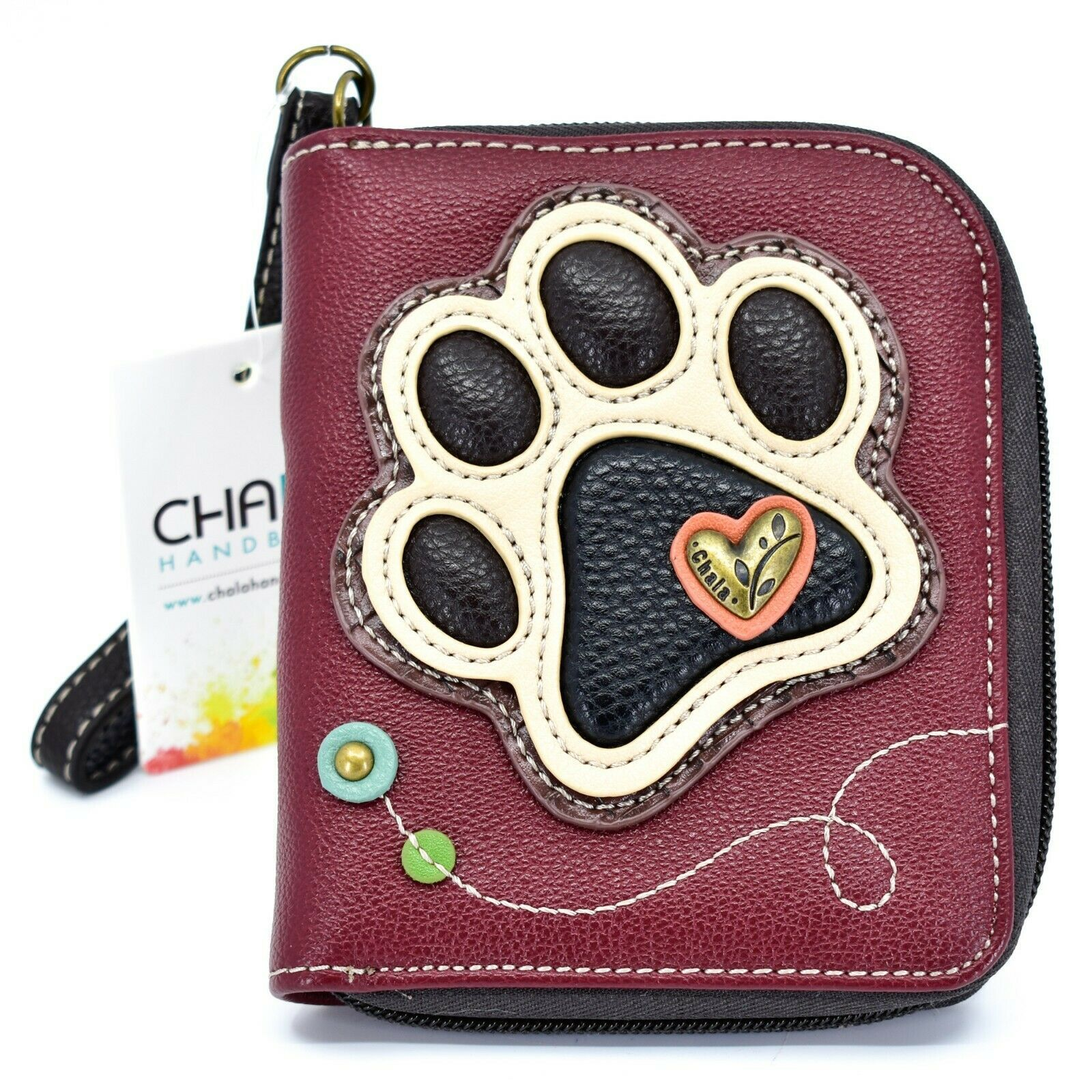 Chala Handbags Faux Leather Ivory Paw Print on Maroon Zip Around Wristlet Wallet