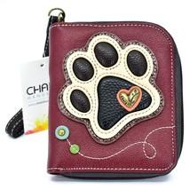 Chala Handbags Faux Leather Ivory Paw Print on Maroon Zip Around Wristlet Wallet image 1