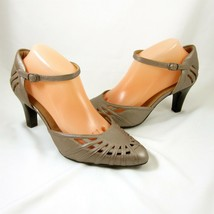 Clarks Artisan Class Grace 10 Taupe Metallic Leather Womens Shoes Ankle Straps - $49.49